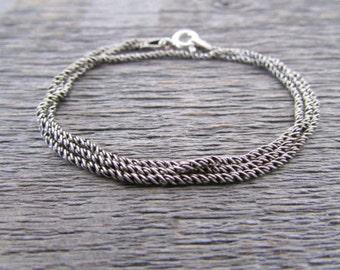 Bali Rope Chain, 1mm Chain, 24 Inch Chain, Bali Silver Necklace, Oxidized Silver Chain, Oxidized Chain, Bali Necklace, Tribal Chain
