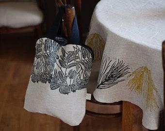 Large linen handbag, A4 handbag, linoblock printed bag, document bag