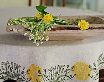 Round linen tablecloth Dandelion
