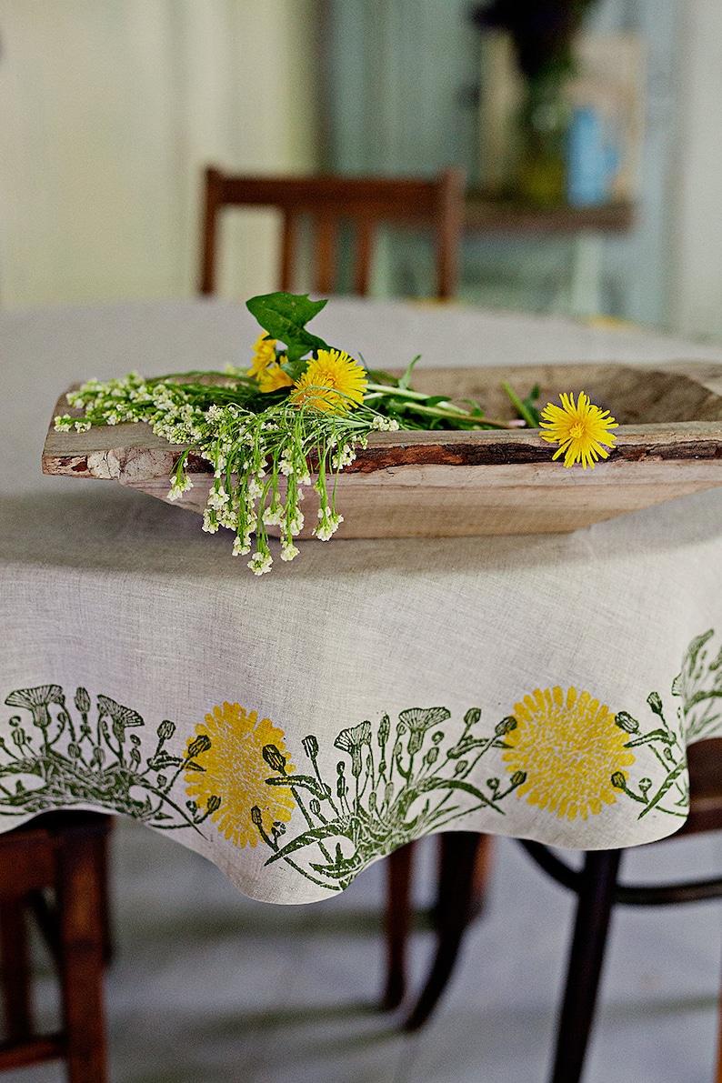 Round linen tablecloth Dandelion image 0