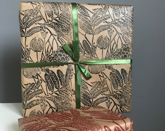 """Gift wrapping paper linoblock printed hand printed paper """"Bird of Ashberry"""""""
