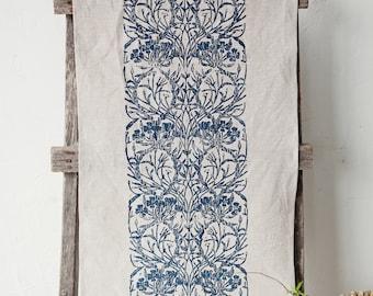 Linen table runner Evening Primrose & Willowherb pattern in blue Lino block printed