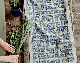 Linoblock printed linen table runner Seaside Eryngium