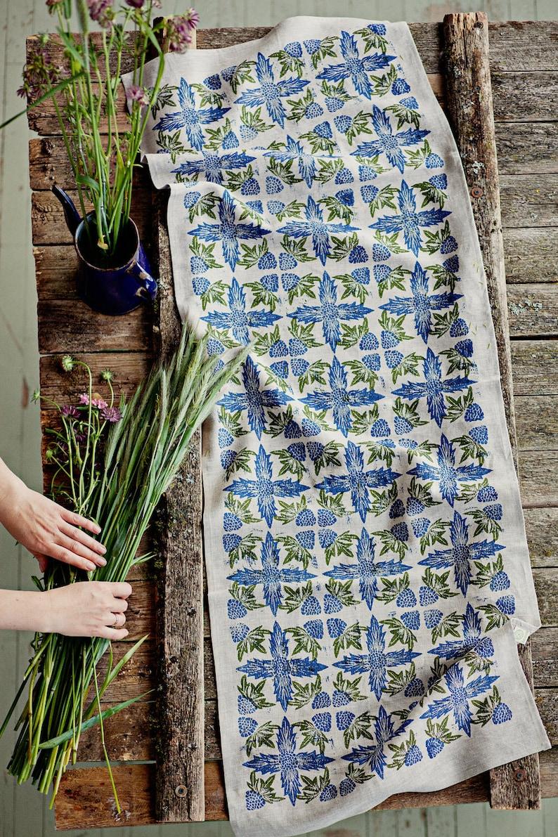 Linoblock printed linen table runner Seaside Eryngium image 0