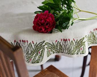 Round linen tablecloth Willowherb