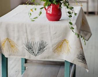 "Lino block printed linen tablecloth ""Field Horsetail"""