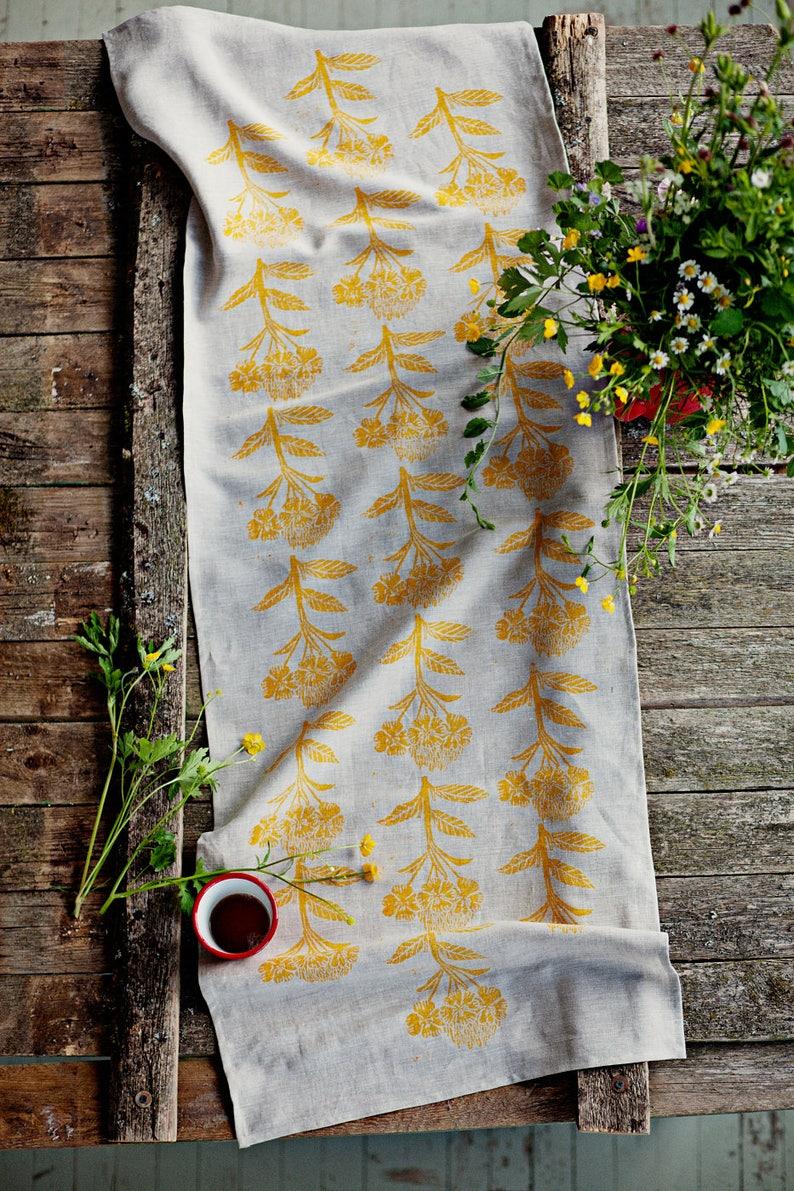 Linen table runner lino block printed Evening image 0