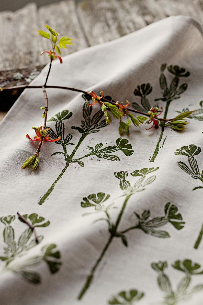 Linen block printed table runner floral green image 0