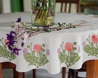 Round linen tablecloth Dahlia