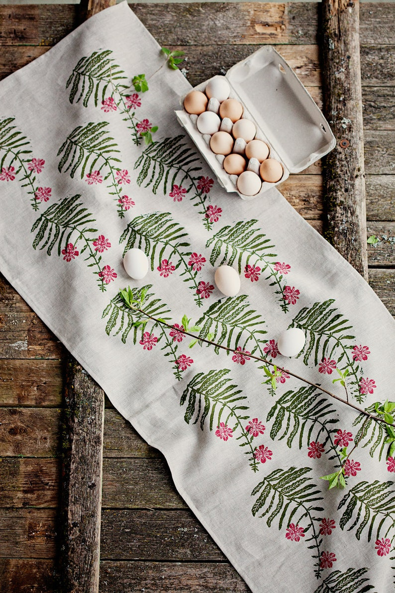 Linoblock printed linen table runner Fireweed image 0