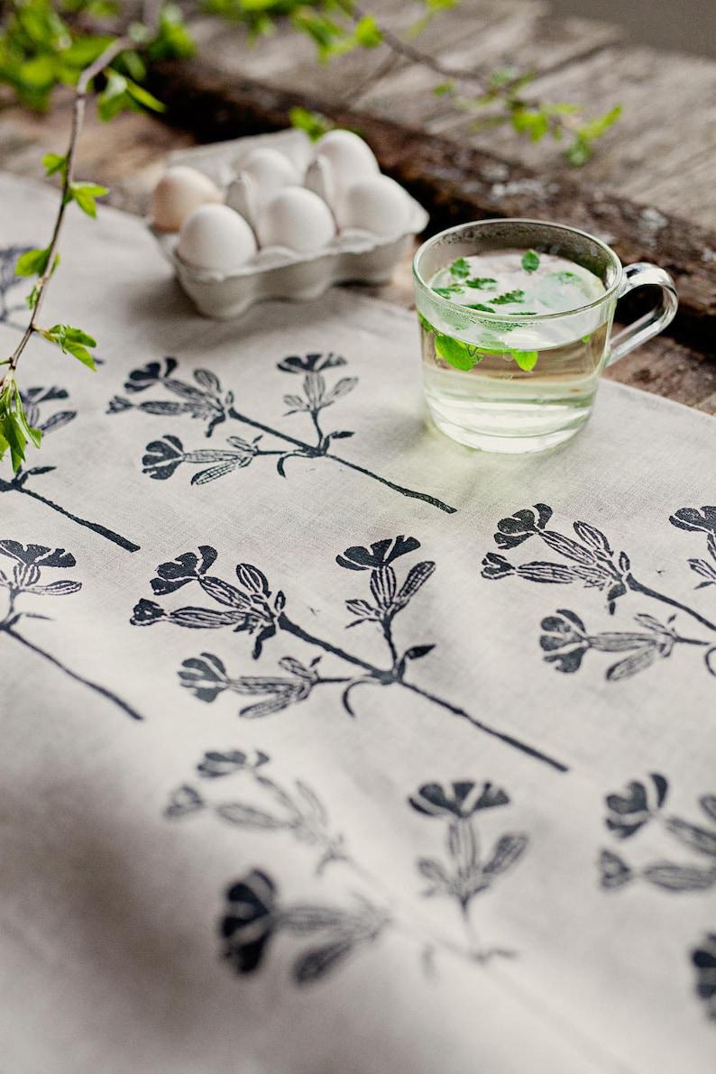 Linen table runner linoblock printed White Campion image 0