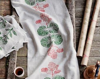 Block printed table runner,  lino block printed  Pelargonium, eco friendly
