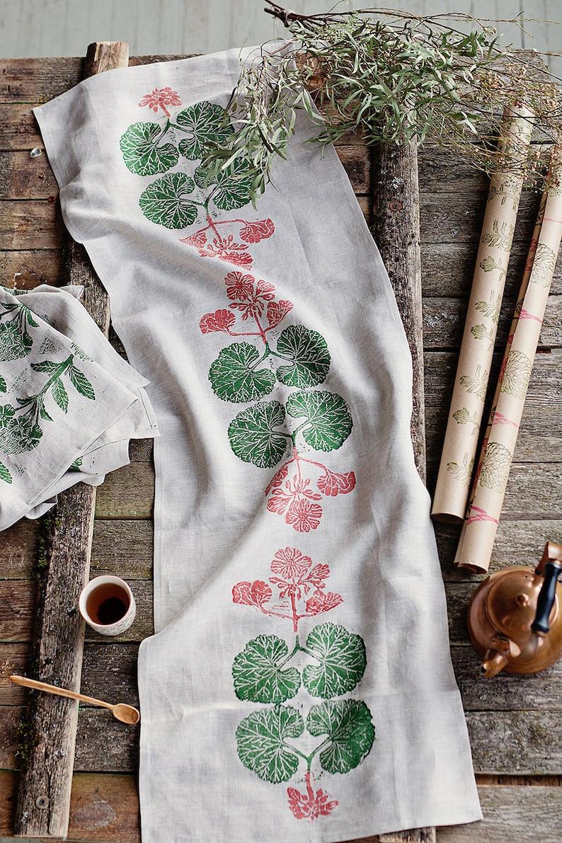 Block printed table runner  lino block printed  Pelargonium image 0
