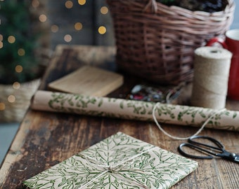 """Gift wrapping paper linoblock printed hand printed paper """"Mistletoe"""""""