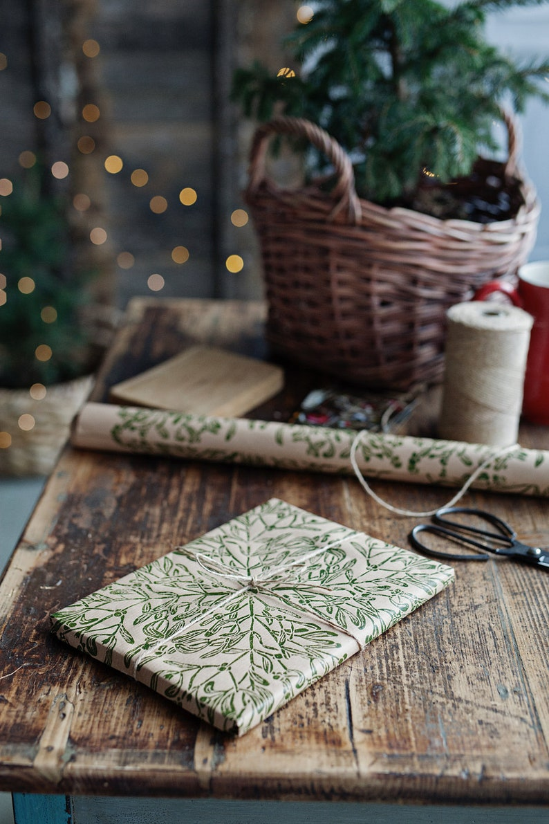 Gift wrapping paper linoblock printed hand printed paper Mistletoe