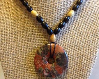 Sierra Agate Pendant, Black Leather Wooden Beaded Necklace, Mens/Unisex Stone Pendant, Black + Natural Wood Beads, For Dad, Fathers Day Gift