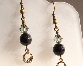 Black Tourmaline Earrings, Antique Gold, Stone Earring, Crystal and Swarovski Accent, Art Deco styling, Pretty Gift for Her, Gift under 25