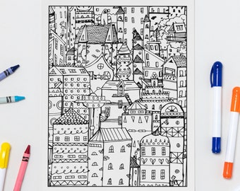 Houses printable coloring page
