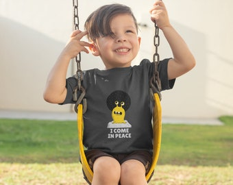 I Come In Peace alien kids youth tee