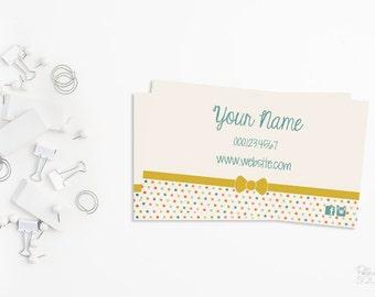 Business card design peach polka dots we design you print etsy printable business card design polka dot business card dot business card cute business card bow business card pastel blue and yellow colourmoves