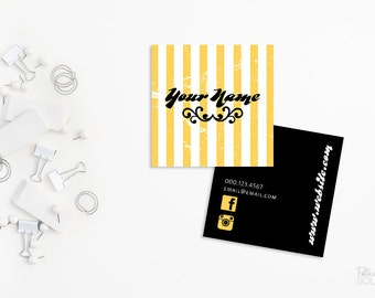 Jaune Et Noir De Cartes Visite Carres Imprimable Porte Double Faces Des MOO Business Card Design