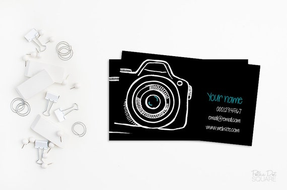 Printable business card design camera business card design etsy image 0 colourmoves
