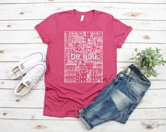 Be You Doodle Houses- Heather Raspberry Pink Short Sleeve T-Shirt