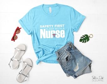 Safety First Sleep with a Nurse - Aqua Short Sleeve T-Shirt