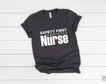 Safety First Sleep with a Nurse - Dark Grey Heather Short Sleeve T-Shirt
