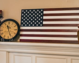 """36"""" Extra Large Hand-Crafted Vintage Look Wood American Flag / Patriotic Wall Art Americana"""