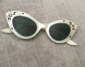 2bcc30631ef Ivory Pearl Cateye Sunglasses with Rhinestone and Handpainted Designs     Smaller Frames