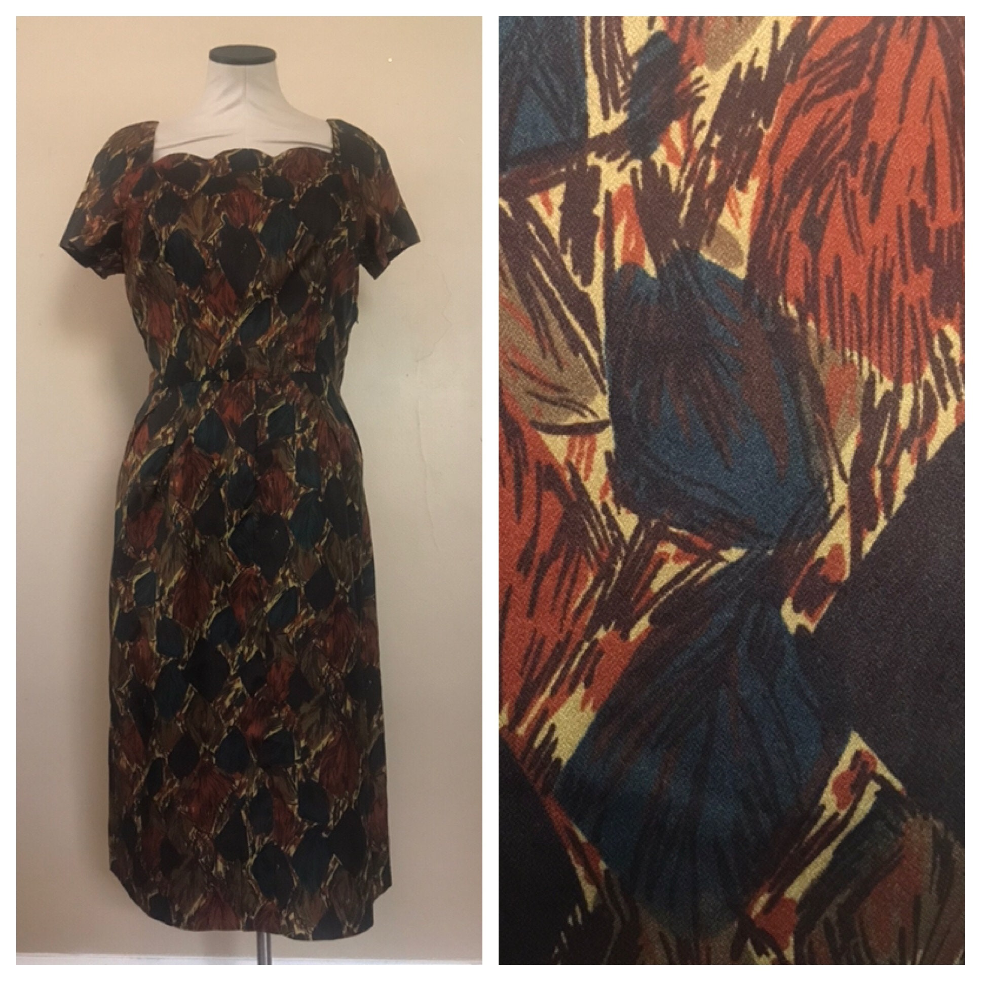 1960s Fall Leaves Print Wiggle Dress With Scalloped Collar Etsy