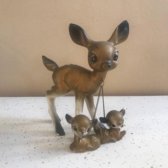 1950s/60s Gold Ceramic Deer Chain Family Mid Centu