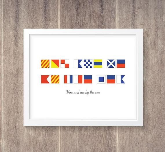Nautical Flag Alphabet Personalized Saying 11x14   Etsy