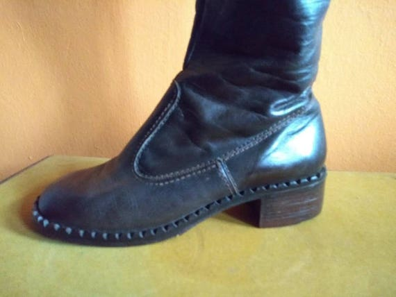 Vintage 70s US 6.5 tall dark brown leather boots S