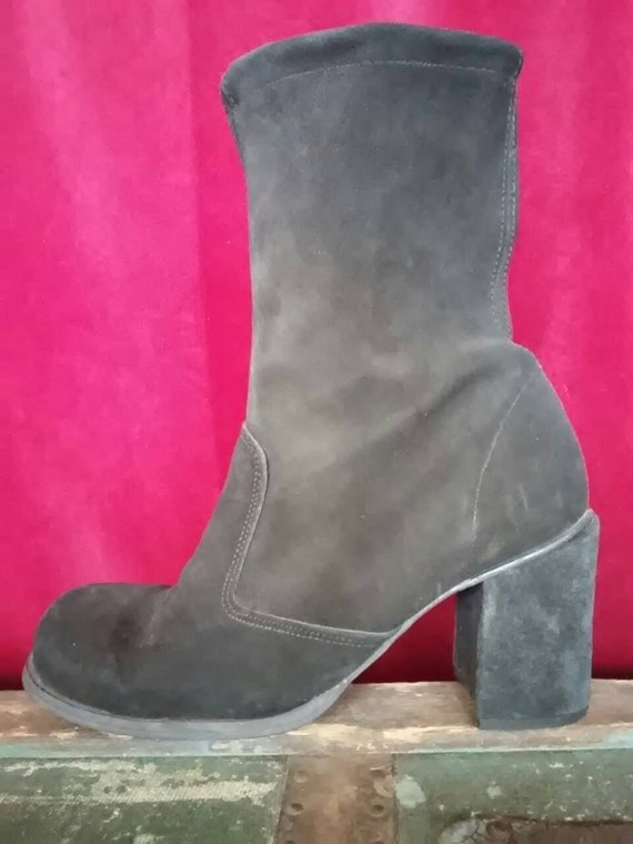 Black suede 60s/70s boots Seventies ankle boots wi