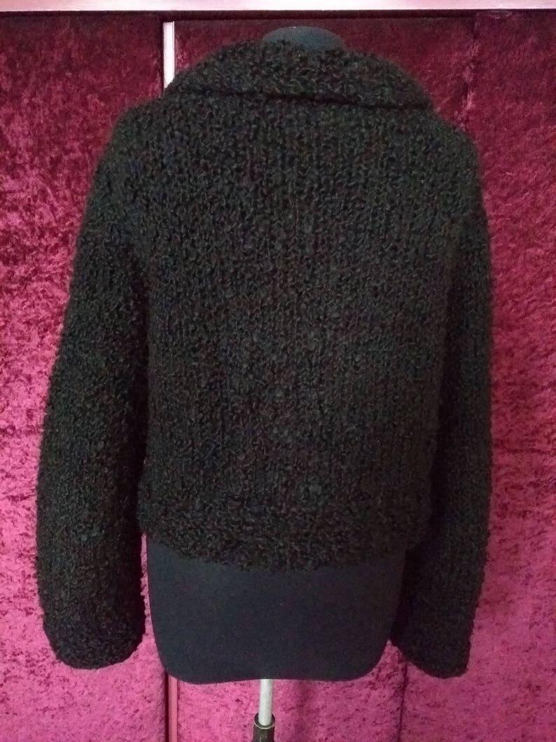 US 8-10 UK 10-12 Vintage 60s Black wool boxy cardigan chunky boucl\u00e9 astrakan look faux fur big collar granny jacket EU M