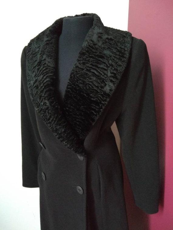 Size S 80s black woolen redingote doublebreasted f