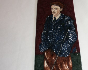 Vintage Christian Dior Monsieur men's neck tie with Golfer