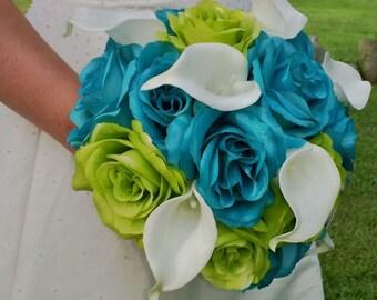Malibu Blue Wedding Bouquet, Lime Green Bouquet, White Calla lily Bouquet, White Malibu Bouquet Blue Bridal Bouquet, Blue Lime White Bouquet