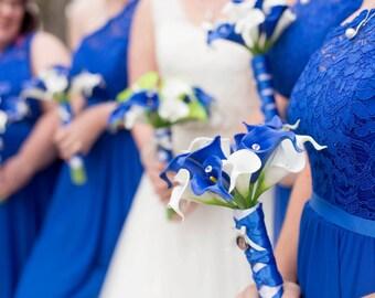 Royal Blue White Lime Calla Lily Bridal Bouquet Wedding Flower 17 Piece Set, Royal Blue White Bouquet, Star Wars Wedding Bouquet
