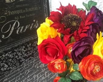 Fall Wedding Bouquet, Orange Red Yellow Bouquet, Fall Sunflower Bouquet, Yellow Bouquet, Fall Orange Bouquet, Red Orange Bridal bouquet