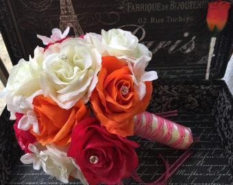 Hot Pink Orange Rose Wedding Bouquet, Hot Pink Bouquet, Hot pink Orange Bouquet, Hot Pink Wedding Beach Orange Wedding, Hot pink Bridal