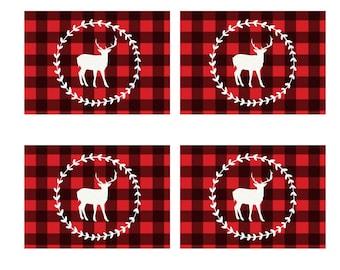 Buffalo Plaid Christmas Tags, Digital Download Deer Tags, Christmas Gift Tags, Holiday Tags, Plaid Tags