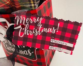 Buffalo Plaid Merry Christmas Tags, Seasons Greetings Tags, Digital Download Tags, Merry Christmas Gift Tags, Happy Holiday Tags, Plaid Tags