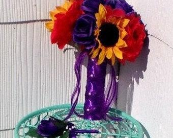 Sunflower Bouquet, Sunflower Rose Bouquet, Purple Red Yellow Bouquet, Fall Bouquet, 17 piece Sunflower Wedding Set, Rustic Bouquet