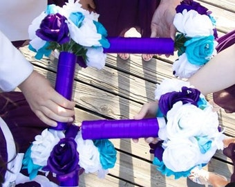 17 Piece Malibu Blue White Purple Rose Wedding Bouquet Flower Set with Boutonnieres & Corsages, Malibu Blue Bouquet, White Purple Bouque