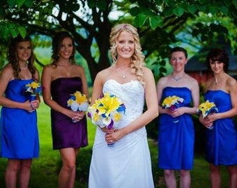 Royal Blue Yellow Purple 17 piece Wedding Bouquet Flower Set, Royal Blue Yellow Lily Bouquet, Blue white bouquet Yellow Horizon Blue Bouquet