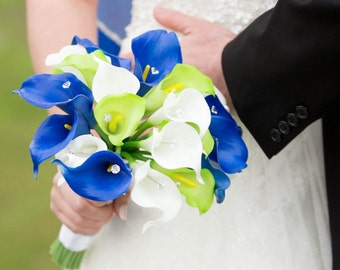 Royal Blue White Lime Calla Lily Bridal Bouquet Wedding Flower 2 Piece Set, Royal Blue White Bouquet, Lime Wedding Bouquet Blue Bridal