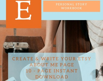 10 Page About Me Etsy Workbook, Help on Etsy, Etsy About Page, Etsy Help Guide, New Etsy Sellers, Sell on Etsy, Etsy Shop Critique, Etsy SEO